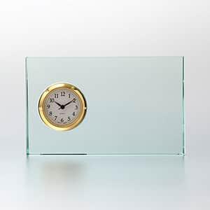 ガラス製 FLキューブ セイコークロック製時計付