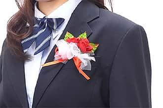 卒業式用コサージュ ローズ2輪チュール