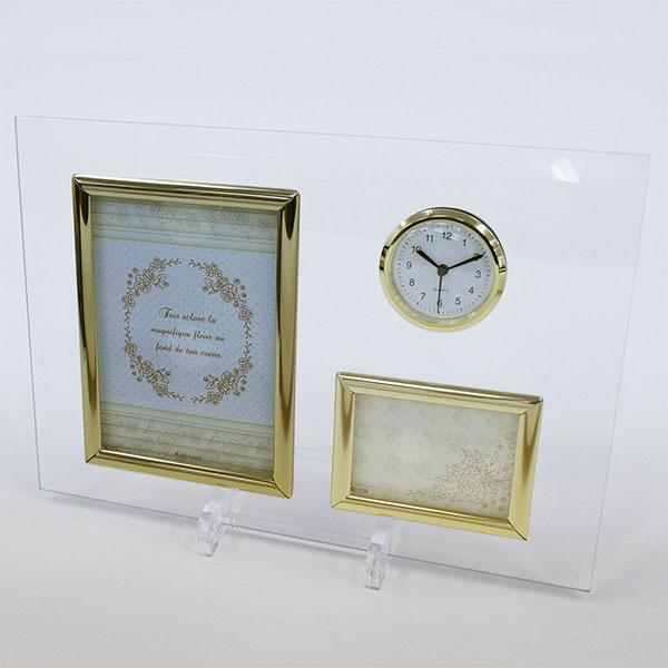 時計付ガラスフォトフレーム サービス×ミニサイズ