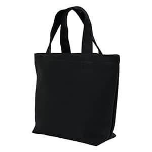 キャンバストートバッグ(中) B5横型 マチあり・船底 (既製品) 黒