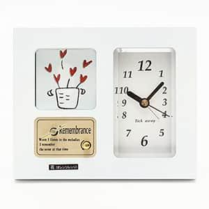 フォトフレーム付きオルゴール サウンドアラームQ 時計付き