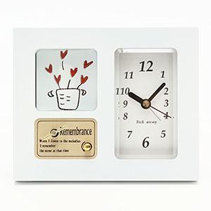 【オリジナル曲】フォトフレーム付きオルゴール サウンドアラームQ 時計付き