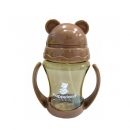 韓國 朴蜜兒 Pomier - 韓製 HAPPYLAND Tritan 防脹氣十字孔自動果汁杯-咖啡色-200mL
