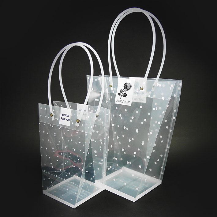 V165 T型點點透明手提袋