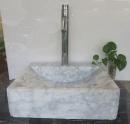 小雕刻白大理石盆-42x46x13cm