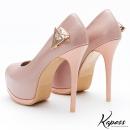 閃耀美型♡壓紋側三角金屬美鑽魚口高跟鞋