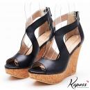 簡約質感♡側簍空楔型涼鞋