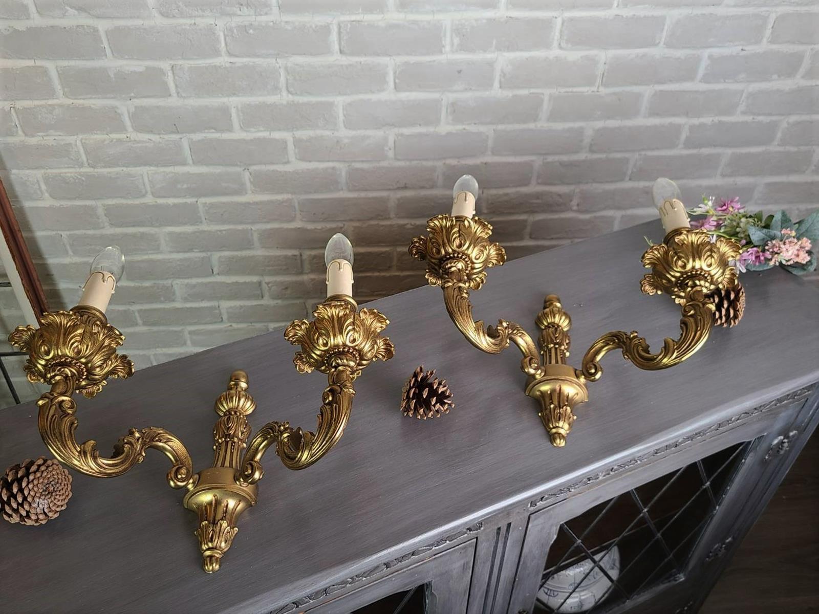 法國 純厚銅 花朵捲葉 高品質 壁燈 古董燈 古典壁燈 la0286