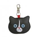 日本ECOUTE!貓咪鑰匙圈皮革小錢包(黑)B017C0212S5660924