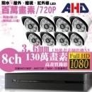 【高雄/台南/屏東監視器】八路八鏡 管型 8LED 套裝DIY組