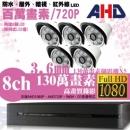 【高雄/台南/屏東監視器】八路五鏡 管型 8LED 套裝DIY組