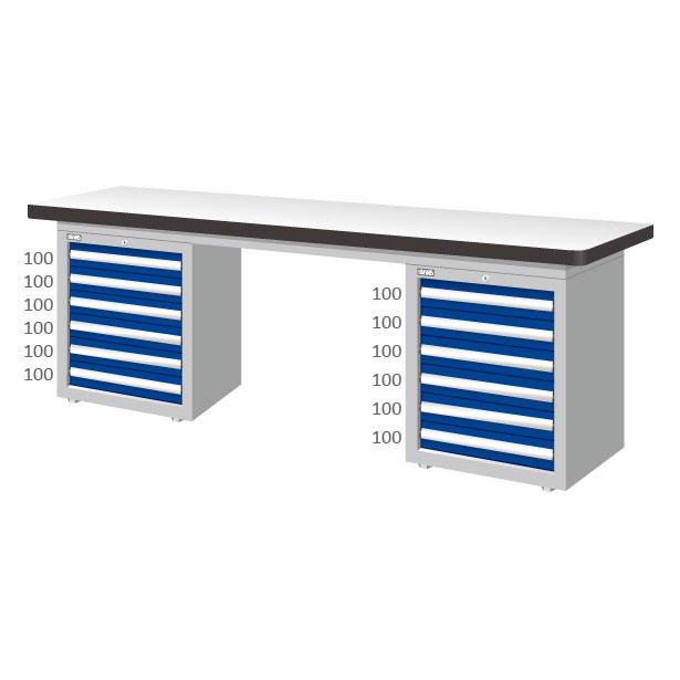 WAD-77061F 重量型工作桌/雙櫃型/耐磨桌板