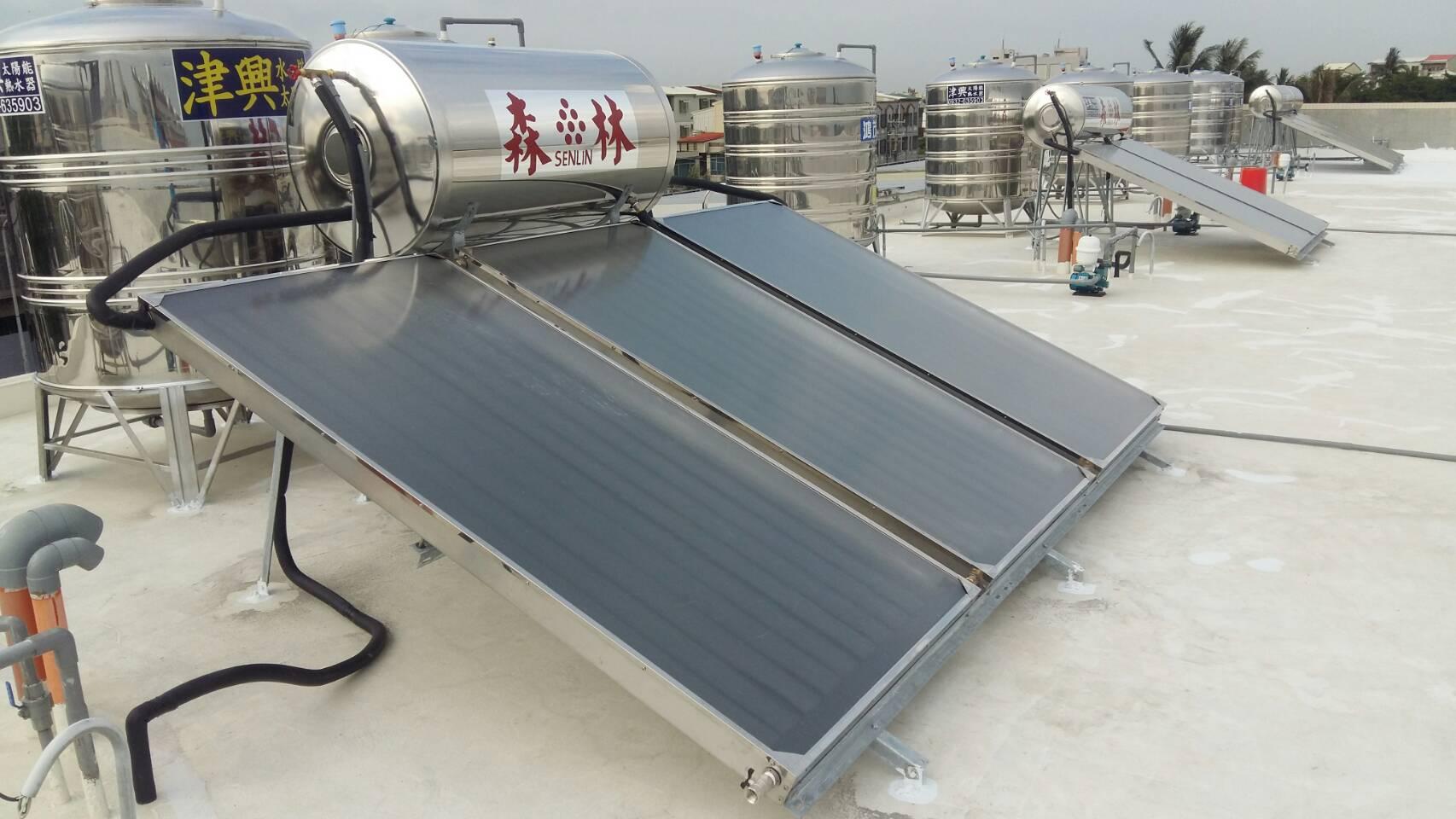 台南市安南區土城(夏沐漱石)-森林太陽能熱水器三片一桶(300公升) 2T防震型水塔(槽型腳架)