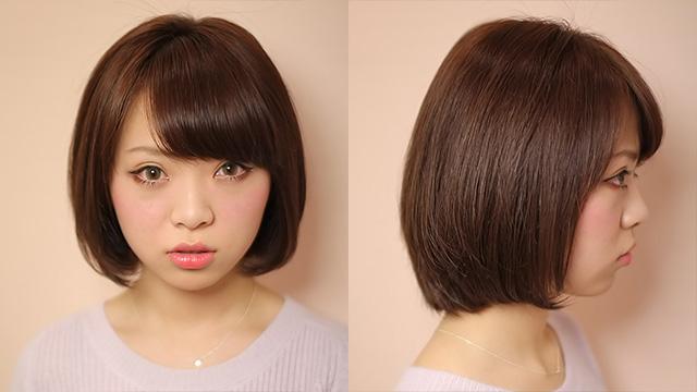 秋冬のヘアスタイル「斜めバング大人可愛ショート」