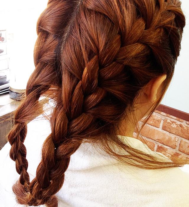 「浴衣に似合う編み込みヘアアレンジ」の手順_3