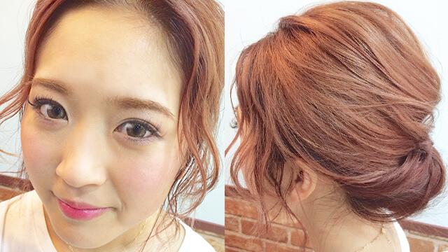 セミロングのまとめ髪はギブソンタックが1番可愛い!360度完璧なヘアアレンジ