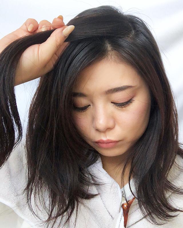 「スカーフの編み込みヘアアレンジ」の手順_2