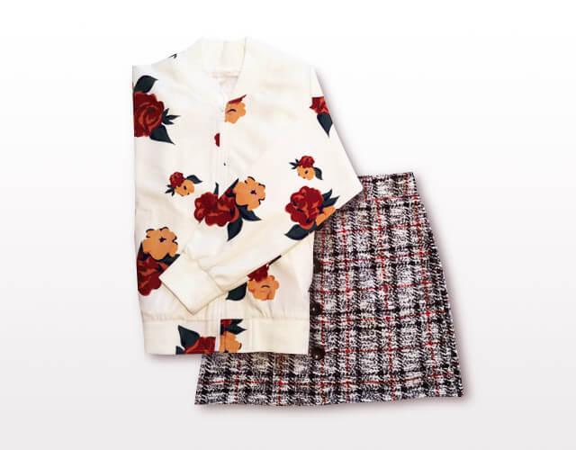 ブルゾン&スカート