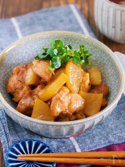 ⑦鶏大根の甘辛照り煮
