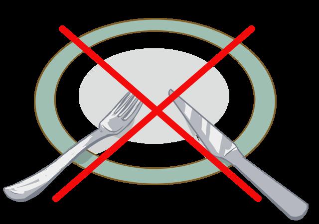 【3】食事が終わったあと、ナイフとフォークを八の字に置く