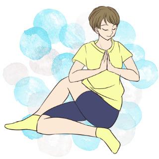 寝る前に簡単にできるお腹の運動「ねじりのポーズ」