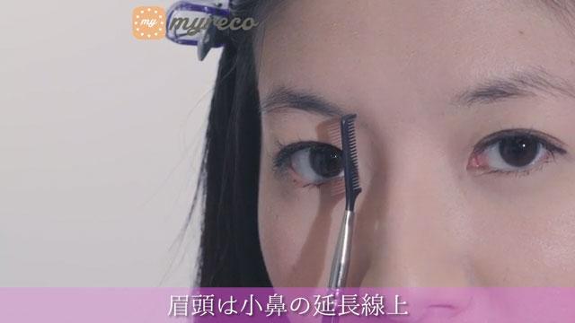 眉頭は小鼻の延長線上