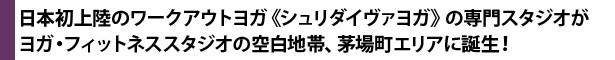 日本初上陸のワークアウトヨガ《シュリダイヴァヨガ》の専門スタジオがヨガ・フィットネススタジオの空白地帯、茅場町エリアに誕生!
