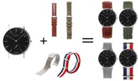 時計本体(シルバーケース)1個+ベルト4種類の特別セット