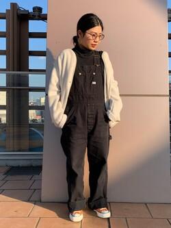ららぽーと横浜のYukakoさんのLeeの【ユニセックス】【やわらかフリース】ノーカラージャケットを使ったコーディネート