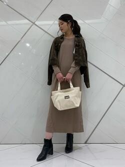 熊本COCOSA店のNANAKOさんのLeeの【トップス15%OFFクーポン対象】サーマルロングドレスを使ったコーディネート