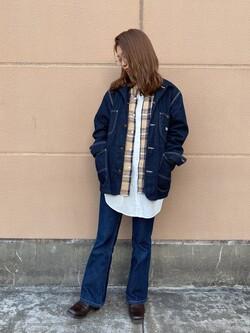 アミュプラザ長崎店のNAOさんのLeeのカバーオールジャケットを使ったコーディネート