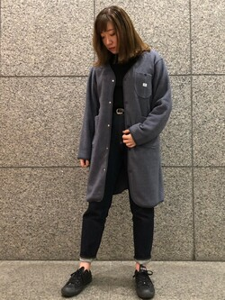 札幌パセオ店のChihiroさんのLeeの【ユニセツクス】【やわらかフリース】ノーカラーコートを使ったコーディネート