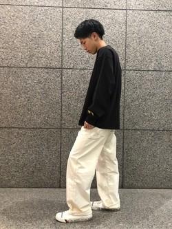 札幌パセオ店のTatsukiさんのLeeのPipes ルーズシルエット ロングTシャツ/プリントを使ったコーディネート