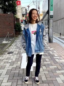 TOKYO HARAJUKU店のFemale StaffさんのEDWINの【コンセプトショップ限定】EDWIN×ZOO YORK DENIM MIX HOODIEを使ったコーディネート