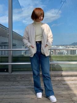 Lee アミュプラザ博多店のMISAKIさんのLeeの【ユニセツクス】【やわらかフリース】ノーカラージャケットを使ったコーディネート