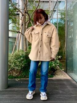 Lee アミュプラザ博多店のMISAKIさんのLeeの【トップス15%OFFクーポン対象】【ふっくらボア】CPO ジャケットを使ったコーディネート