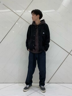 熊本COCOSA店のSHOGOさんのLeeの【ユニセックス】【やわらかフリース】ノーカラージャケットを使ったコーディネート