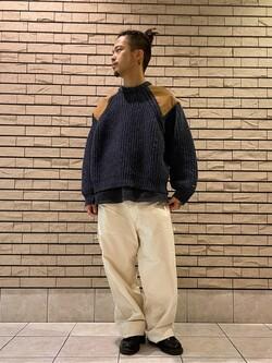 札幌パセオ店のgenさんのLeeの【トップス15%OFFクーポン対象】ミリタリー パッチワークセーターを使ったコーディネート