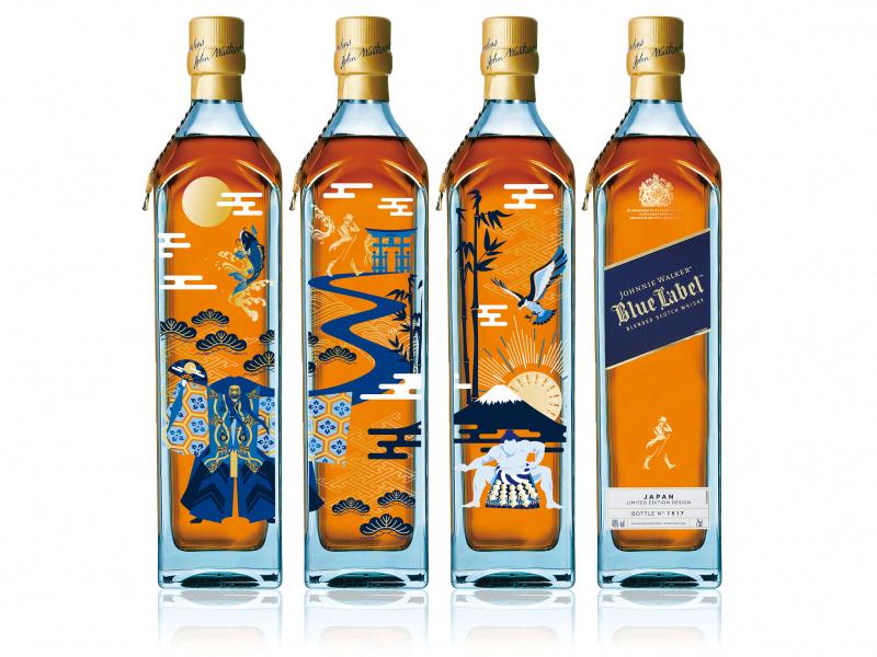 日本の縁起物が大集合! 限定ボトルの「ジョニーウォーカー ブルーラベル」は、目でも味わえるおいしいウイスキーです。