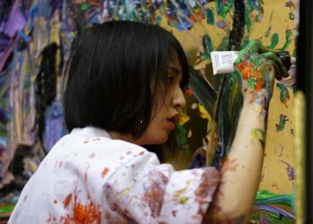 アーティスト小松美羽がライブで描く、京都・常寂光寺のふたつの世界。