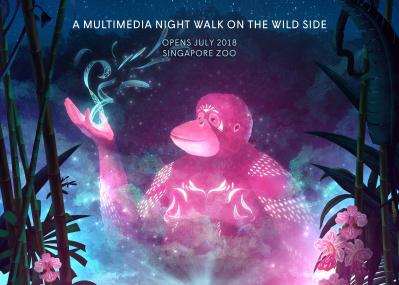 夜の園内にデジタルアート?! シンガポール動物園の新企画。