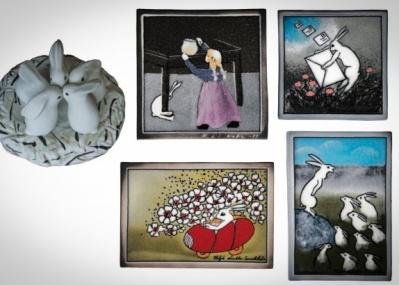 """アラビアの陶磁器デザイナーが手がける、""""ウサギ""""の世界へ。「ヘルヤの花束展」がいよいよスタート!"""