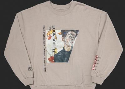 """""""芸術""""だから価値をもつ、ウィーンの画家エゴン・シーレの作品がスウェットシャツに。"""