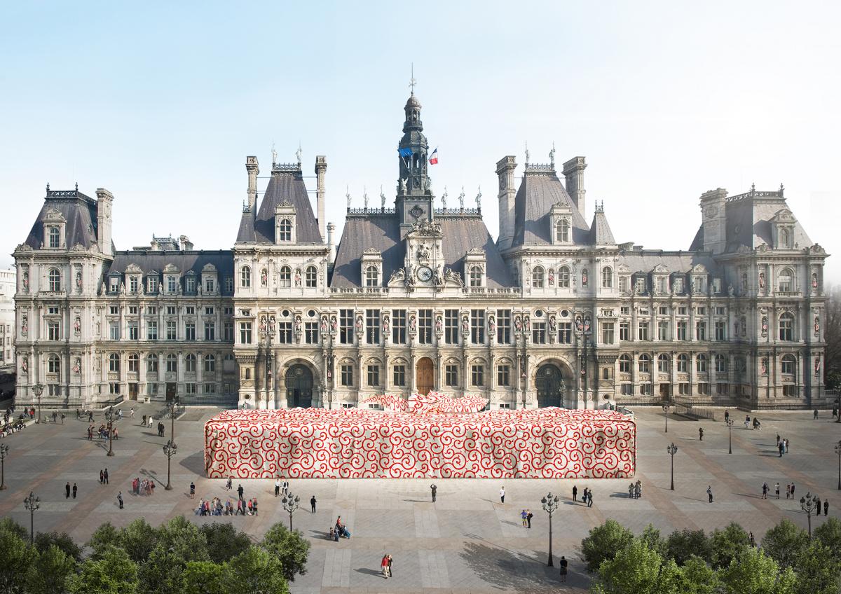 """気鋭の建築家・田根剛が、パリの街を""""ふろしき""""で彩る『FUROSHIKI PARIS』が開催!"""