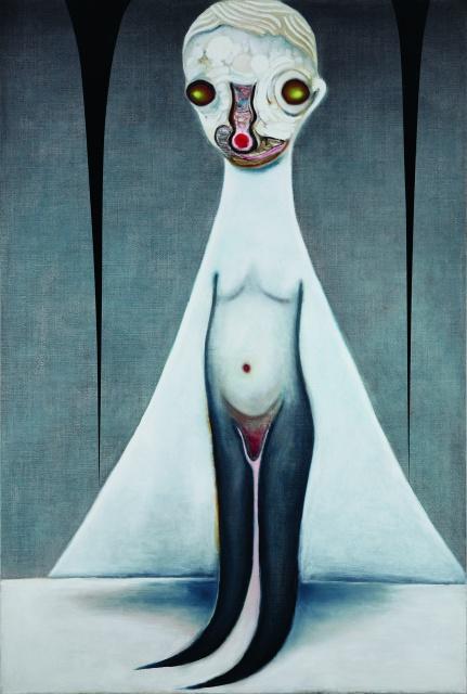不思議な世界を表す日本人アーティスト、加藤泉の個展がNYで始まりました。