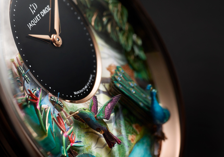 ダイヤル上の熱帯雨林で鳥たちが羽ばたく!! 「ジャケ・ドロー」渾身のミニッツリピーターに驚嘆すべし。