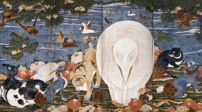 山種美術館の「Kawaii 日本美術」展に、若冲の「樹花鳥獣図屏風」が出展されます!
