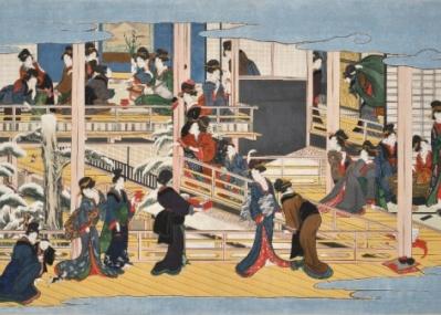 66年ぶりに公開中! 喜多川歌麿・幻の肉筆画「深川の雪」を、岡田美術館で。