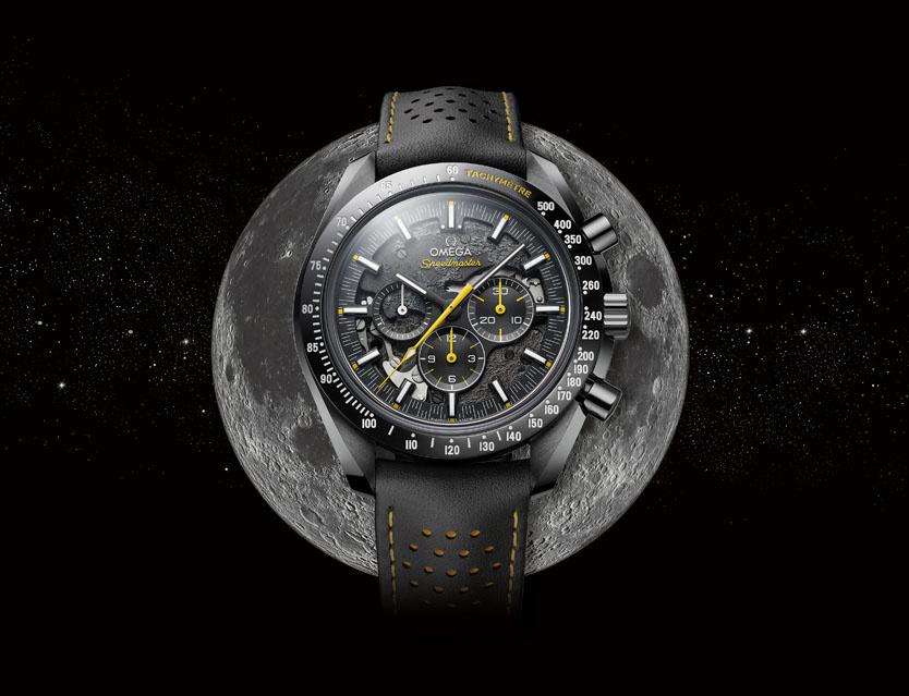 アポロ8号が初めて見た月の裏側をケースバックに表現した、 スケルトン仕様の「スピードマスター」特別モデル