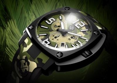 気鋭スイス・ブランドが発する。大迫力のカムフラ柄腕時計。アンダー10万円で登場!
